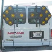 Flèche installée sur un camion